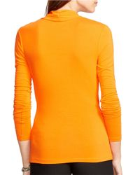 Lauren by Ralph Lauren | Orange Jersey Wrap Top | Lyst