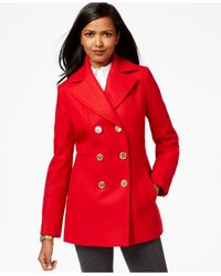 Michael Kors | Red Michael Double-breasted Peacoat | Lyst