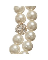 John Lewis - White Double Row Pave Pearl Necklace - Lyst