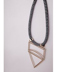 Missguided | Metallic Cut Out Statement Rope Necklace Gold | Lyst