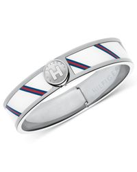 Tommy Hilfiger - Gray White And Blue Hinged Bangle Bracelet - Lyst