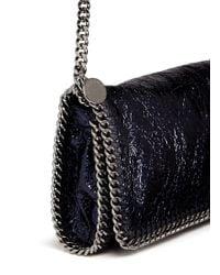 Stella McCartney - Black 'Falabella' Metallic Crackle Faux Leather Chain Clutch - Lyst