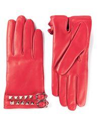 Valentino - Red 'Rockstud' Gloves - Lyst