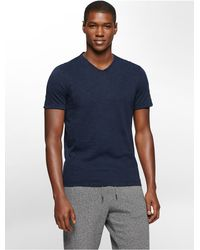 Calvin Klein | Blue Jeans Slim Fit Acid Wash V-neck T-shirt for Men | Lyst