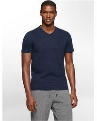 Calvin Klein - Blue Jeans Slim Fit Acid Wash V-neck T-shirt for Men - Lyst