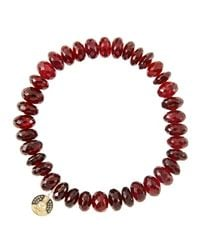 Sydney Evan | Metallic 8Mm Faceted Garnet Beaded Bracelet With 14K Yellow Gold/Diamond Small Evil Eye Charm (Made To Order) | Lyst