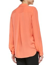 L'Agence - Orange Long-sleeve Two-pocket Silk Blouse - Lyst