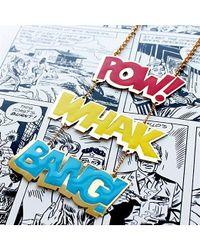 Noir Jewelry - Metallic Pow Whak Bang Long Enamel Dc Comics Necklace - Lyst
