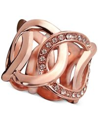 Guess | Pink Rose Gold-Tone Pavé Crystal Interlocked Loop Ring | Lyst