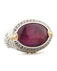 Konstantino - Purple Oval Silver 18k Gold Rubyquartz Doublet Ring - Lyst
