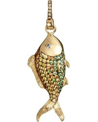 Annoushka - Metallic Mythology 18ct Yellow Gold Brown Diamond And Sapphire Lost Camouflage Fish Charm - Lyst