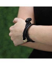 Mizuki | Black Diamond Slider Leather Wrap Bracelet/choker | Lyst