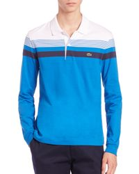 Lacoste | Blue Stripe Long-sleeve Polo Shirt for Men | Lyst