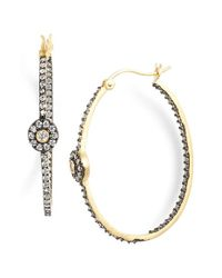 Freida Rothman | Metallic 'metropolitan' Station Inside Out Hoop Earrings - Gunmetal/ Gold/ Clear | Lyst