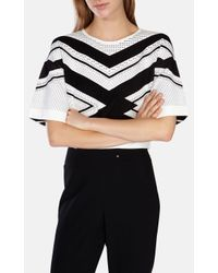 Karen Millen | White Chevron Stripe Knit Jumper | Lyst