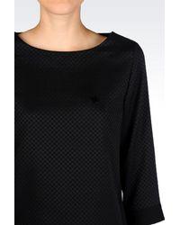 Armani Jeans - Black Jacquard Blouse - Lyst