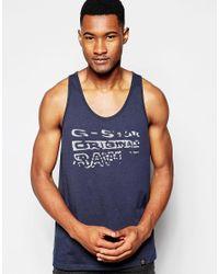 G-Star RAW - Blue Printed Logo Vest for Men - Lyst
