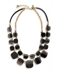 kate spade new york | Black Double Strand Necklace | Lyst