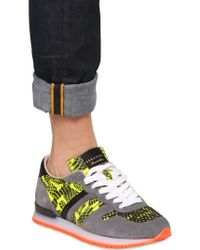 Serafini - Yellow 20mm Leather Python Print Sneakers for Men - Lyst
