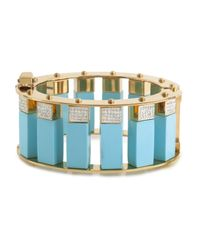 Lele Sadoughi | Blue Pave Stone Column Slider Bracelet, Turquoise | Lyst