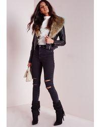 Missguided - Biker Jacket With Faux Fur Black Pu - Lyst