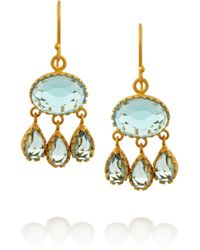 Kevia | Blue Goldplated Topaz Drop Earrings | Lyst