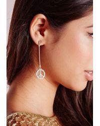Missguided - Metallic Peace Earrings Gold - Lyst