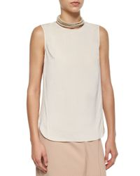 Brunello Cucinelli - White Layered-back Silk Tank - Lyst