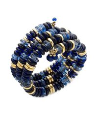 Lauren by Ralph Lauren | Blue Goldtone Bead and Disc Threerow Coil Bracelet | Lyst