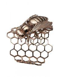 Bernard Delettrez   Metallic Honeycomb Cuff Bracelet With Bee   Lyst