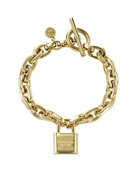 Michael Kors | Metallic Chain Link Padlock Toggle Bracelet | Lyst