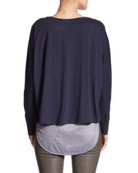 VINCE | Blue Mixed Media Sweater | Lyst