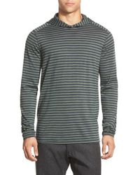 Ibex | Gray 'straightaway' Stripe Merino Wool Pullover Hoodie for Men | Lyst