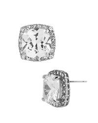 Betsey Johnson | Metallic Square Silvertone And Cubic Zirconia Stud Earrings | Lyst