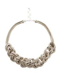 River Island | White Silver Tone Oversized Plaited Necklace | Lyst