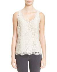 Joie - White 'cina' Scallop Edge V-neck Lace Shell - Lyst