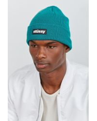 Stussy | Blue Rubber Patch Beanie for Men | Lyst