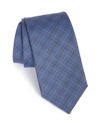 David Donahue - Blue Check Silk Tie for Men - Lyst