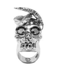 Alexander McQueen - Metallic Feather Skull Ring - Lyst
