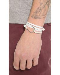 Miansai - White Silver Hook Leather Wrap Bracelet for Men - Lyst