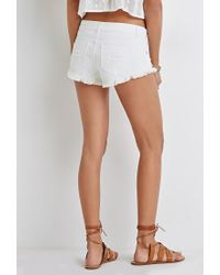 Forever 21 | Natural Distressed Denim Cutoffs | Lyst