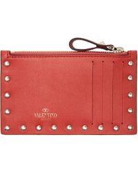 Valentino - Red Leather Rockstud Cardholder - Lyst