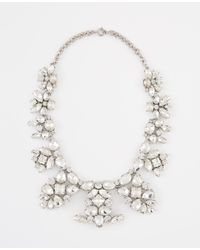 Ann Taylor - Metallic Crystal Brooch Statement Necklace - Lyst