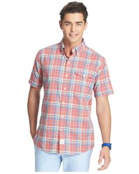 Izod - Red Plaid Short Sleeve Shirt for Men - Lyst