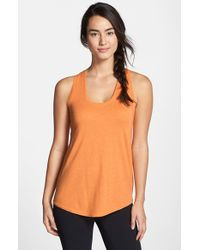 Zella | Orange 'hello Again' Racerback Tank | Lyst