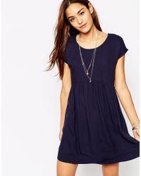 Vila - Blue Lace Detail Smock Dress - Lyst
