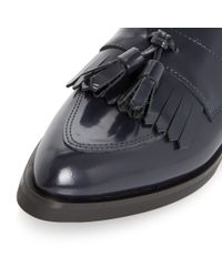 Dune Black | Blue Ginnie Pointed Toe Leather Tassel Loafer | Lyst