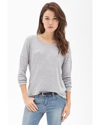 Forever 21 - Gray Drop-sleeve Knit Tee - Lyst