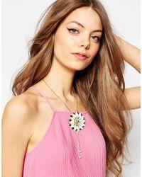 ASOS - Metallic Lotus Flower Necklace - Lyst