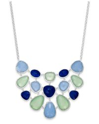 Charter Club | Green Silver-tone Blue Stone Bib Necklace | Lyst